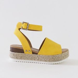 e5316cdfffcd Soda Shoes - topic yellow anklestrap flatform sandal espadrille